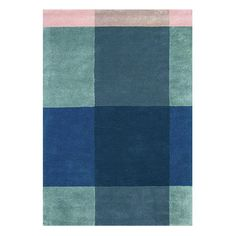 Ted Baker rug featuring a block design with contrasting shades of grey and blue. Would make a fantastic statement in any room. Hand tufted with the finest pure new wool providing a soft, luxurious low cut pile.