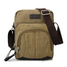 4e482722081a Men s Vintage Canvas Shoulder Bag Crossbody Messenger Purse Mini ...