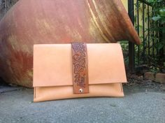 Hand made oversized leather clutch by kingstreetcollars on Etsy, $120.00