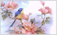 Bluebird - watercolor by Carolyn Shores Wright Images Vintage, Vintage Art, Watercolor Bird, Watercolor Paintings, China Painting, Bird Pictures, Bird Prints, Bird Art, Beautiful Birds