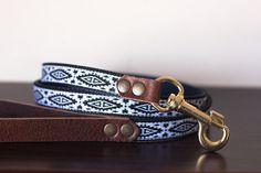"Custom Leather Black/White/Blue Dog Leash. Navajo Black 3/4"""