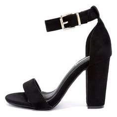 Formal Opinion Black Suede Ankle Strap Heels ($35) ❤ liked on Polyvore featuring shoes, pumps, black, black pumps, vegan leather shoes, ankle tie shoes, formal wear shoes and formal footwear