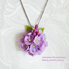Pendant Lilac Polymer Clay Flowers by SaisonRomantique on Etsy