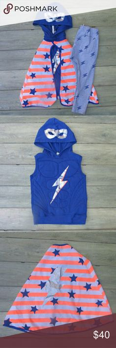 "Cotton on Kids Outfit Hooded Vest Mask Cape Jogger Cotton On Kid Boys Super Hero Lightening Boltz ""Adventure Starts Here"" 3 piece Set  Hooded Vest With Mask, Jogger Pants & Cape Size: 7 Color: Gray/Blue/Silver/Neon Orange  Cotton on Kids ""Adventure Starts Here"" Set Includes cape, hooded vest with a mask built in the hood, and jogger style pants.  This set is awesome. My son loved it so much he even wore it on Halloween one year.  Material specifics are in photos  Retail:$80 Cotton On…"