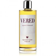 Signature Scent Body Oil by Vered Organic Botanicals. With therapeutic-grade essential oils in a bse of jojoba, primrose and almond oil.