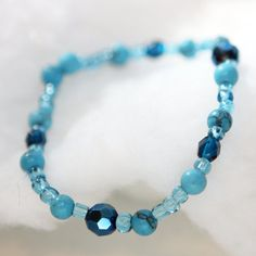 Turquoise Stretch Bracelet  Blue Czech Glass Beads  by Kidalia