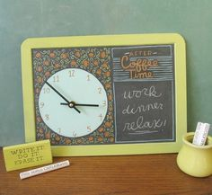 cute clock/chalkboard. etsy - MaryKateMcDevitt