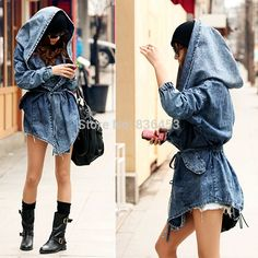 long denim jacket in fashion week - Tìm với Google