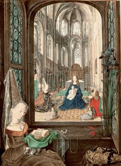 """Mary at Her Devotions, Hours of Mary of Burgundy - Artist unknown """"The Mary of Burgundy Painter""""  Medieval"""