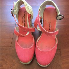 Coral wedge espadrilles very comfy Worn only a handful of times and super comfortable. Add a pop of color to your spring and summer wardrobe! very light wear as shown in the images and very comfy. Bettye Mueller Shoes Espadrilles