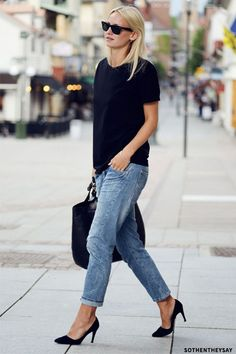 casually chic, loving the black suede stilettos