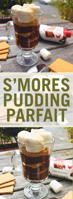 ·2 Cups of Premier Protein Chocolate Shake ·1 box of chocolate instant pudding mix ·1/3 cup of graham cracker crumbs  · 3-4 marshmallows   Whisk Premier Protein and pudding mix for 2 minutes, and let sit for 5 minutes. Layer pudding and crumbs into a glass cup. Top with toasted marshmallows and enjoy!