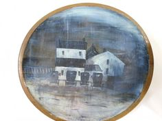 The Vintage Village - View Classified - Amish Buggy Painting on Antique Wooden Butter Bowl Folk Art Han
