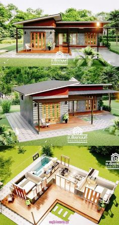 Modern Style Home Design with 2 Bedrooms - Modern Style Home De. - Modern Style Home Design with 2 Bedrooms – Modern Style Home Design with 2 Bedroo - Sims 4 House Design, Bungalow House Design, Cool House Designs, Small Modern Home, Modern Style Homes, Small Modern House Exterior, Modern Prefab Homes, Terraria House Design, Wooden House Design