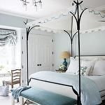 bedrooms - Hickory blue bench nailhead trim black iron Oscar De La Renta canopy bed turquoise blue lamp linen lamp shade blue gray walls paint color roman shade chandelier Oscar De La Renta Canopy Bed Hickory Bench