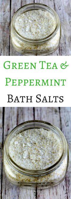 green tea and peppermint bath salt recipe. Relax with this green tea and peppermint bath salt recipe. Bath Recipes, No Salt Recipes, Bath Salts Recipe, Green Tea Recipes, Bath Tea, Beauty Recipe, Belleza Natural, Peppermint, Cleanser