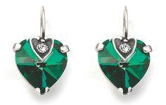 Emerald heart earrings
