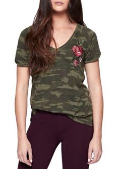 Sanctuary Women's Camo Bloom Short Sleeve Tee - Hertg Camo - Xs
