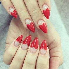 New Collections of Best Valentine's Day Nail Art Design New Collections of Best Valentine's Day Nail Art Design,Nails Art Design red nail art designs; Heart Tip Nails, Heart Nail Art, Heart Art, Nail Art Designs, Heart Nail Designs, Design Art, Red Stiletto Nails, Pink Nails, Pink Tip Nails