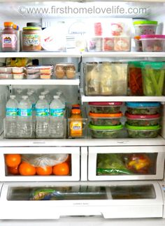Fridge Organization Ideas via www.firsthomelovelife.com