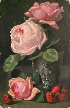 three pink roses, strawberries postcard by W. Eilers