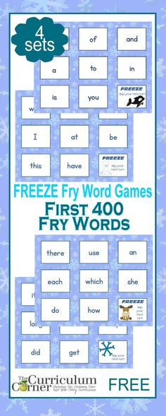 Fry Word FREEZE Game | First 400 Words | 4 Sets | The Curriculum Corner