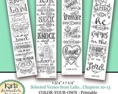 **PLEASE NOTE: This is a COLOR YOUR OWN version of this Bible Bookmark collection. The colored samples in the photos are for example only.  Original hand-drawn art and design... these four (4) Bible Verse Bookmarks are ready for you to print and color yourself... however you like... adding your own personal and loving touch.  Included are some of my most favorite verses: Ephesians 1:3, 2:10, 3:20, 4:32  Use them for bookmarks, tuck them in with your correspondence, give them as encouraging…