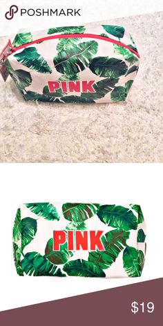 "HP NWT Victoria's Secret PINK Accessories Case  Host Pick for the Getaway Style Party Chosen by @goensshopping ❤️ NWT Victoria's Secret PINK Palm Leaves Accessories Case. Colors are Green, White and Pink. Measurements are 10"" Long X 4"" Wide and 6.5"" Height. 100% Polyurethane. Interior is Black. NO TRADES OR LOW BALL OFFERS Victoria's Secret PINK Bags Cosmetic Bags & Cases"