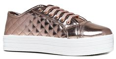 Quilted Lace Up Platform Sneaker - Round Toe Comfortable Flat Sporty leather Casual Walking Shoe, Rose Gold, Size 6.5