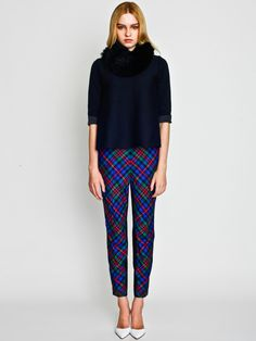 Flare Top with British Check Pants and Rabbit Snood / LE CIEL BLEU