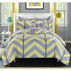 Chic Home Piper 9 Piece Duvet Cover Set Reversible Striped Chevron Pattern Print Bed in a Bag Best Bedding Sets, Bedding Sets Online, King Bedding Sets, Luxury Bedding Sets, Comforter Sets, King Sheets, Bed Sheets, Chevron Bedding, Luxury Bedding Collections