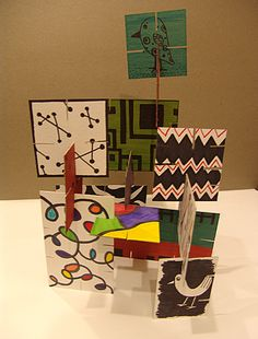 Elements of art - collaborative project. Each kid makes one card for each element. Cool Stuff Art Gallery: Eames house of cards - Mid century inspired art Puzzle Cardboard Sculpture, Cardboard Art, Sculpture Lessons, Sculpture Art, Collaborative Art Projects, Art Projects For Adults, Puzzle Art, Ecole Art, Art Curriculum