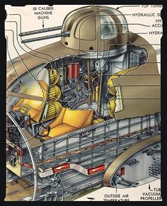 cockpit and top turret cutaway. Ww2 Aircraft, Military Aircraft, Image Avion, B 17, Gun Turret, Aircraft Interiors, Airplane Fighter, Technical Illustration, Ww2 Planes