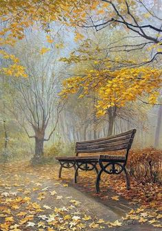 Bank / Gartenbank / Parkbank - Bench in the Park / Garden Bench - Herbst / Autumn / Fall Watercolor Landscape, Landscape Paintings, Autumn Scenery, Fall Pictures, Autumn Art, Belle Photo, Love Art, Beautiful Landscapes, Painting Inspiration