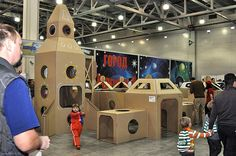 Cardboard spaceport_003 by playandgrow, via Flickr Cardboard Rocket, Truck Or Treat, Maker Fun Factory Vbs, Outer Space Party, Kindergarten Art Projects, Vacation Bible School, Space Theme, Kids Church, Making Ideas