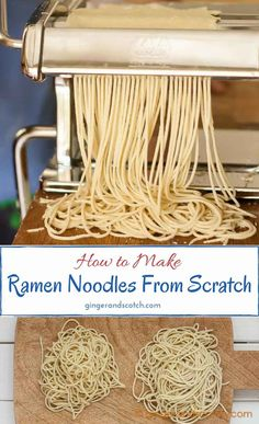 Learn to make homemade ramen noodles from scratch (tip: a pasta machine makes easy work of this recipe!) Learn to make homemade ramen noodles from scratch (tip: a pasta machine makes easy work of this recipe! Raman Noodles, Pasta Noodles, How To Make Ramen, Making Ramen, How To Make Noodles, Make Your Own Pasta, Pasta Casera, Pasta Machine, Fresh Pasta