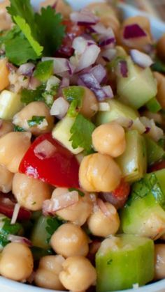 Chickpea Salad Recipe ~ Too die for... Light & fresh.