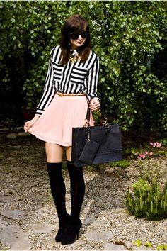 Over the knee socks & skater style skirt Urban Fashion, Womens Fashion, Skater Style, Candy Stripes, Sammy Dress, Skirt Fashion, My Wardrobe, Passion For Fashion, Spring Fashion