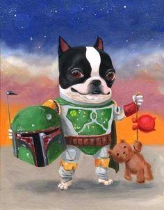 Boston Terrier Star Wars dog art by rubenacker, in Michigan