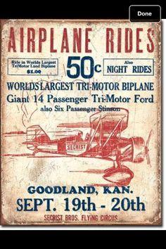 tin sign vintage poster airplane rides Goodland KS Flying Circus bi plane ford