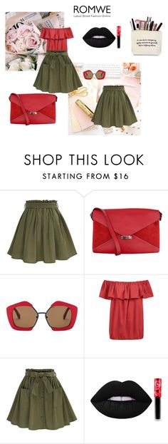"""""""Green skirt by Romwe"""" by ermina-camdzic ❤ liked on Polyvore featuring CÉLINE, Marni and Lime Crime"""