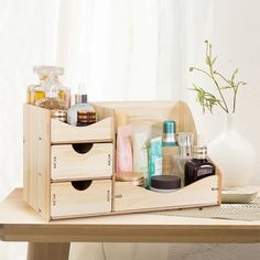 Get wooden cosmetic storage box. Find more makeup organizers at Apollo Box! Wooden Makeup Organizer, Makeup Storage Box, Make Up Storage, Cheap Storage, Cosmetic Storage, Makeup Box, Makeup Organization, Dress Makeup, Wooden Storage Boxes