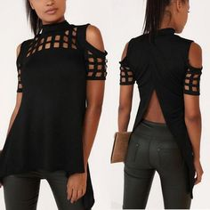 Sexy Back Split Hollow Out Off Shoulder Short Sleeve Blouse / Shirt