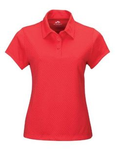 Tri-Mountain Women's Three-button Diamond Jacquard Polo Shirt, FORMULA RED/BLACK, Large Tri-Mountain. $24.99
