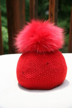5313d8fa6e8 Fur Beanie Red. Handmade Knits   Hats · Fox Fur Pom Pom Beanies