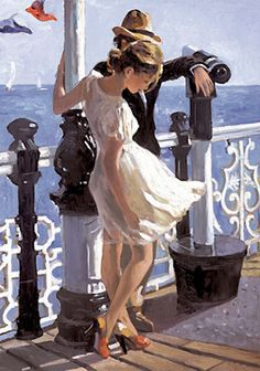 """""""Strolling Along the Pier"""" - Sherree Valentine-Daines (Brittish, b. 1956), oil on canvas {figurative #impressionist art standing male and female painting}"""