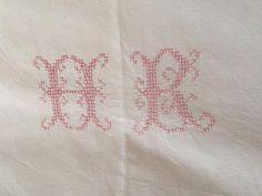 Large French metis linen sheet red monogram by frenchvintagedream