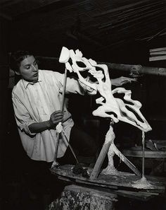 Gwen Lux, American sculptor and designer, 1908-1986, in her studio (Photographer: Peter A. Juley & Son)