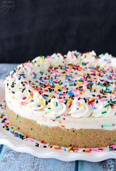 No Bake Funfetti Cheesecake Birthday Cake