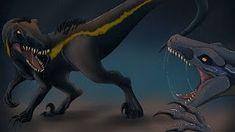 Blue vs the Indoraptor - Jurassic World: Fallen Kingdom - speedpaint [ Jurassic World Movie, Jurassic World Fallen Kingdom, Prehistoric Creatures, Mythical Creatures, World Movies, Falling Kingdoms, Dinosaur Art, Monster Art, Art Sketches